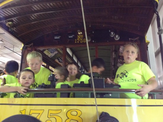 Pennsylvania Trolley Museum: Journey Kids Kittanning Salvation Army playing on the trolleys!