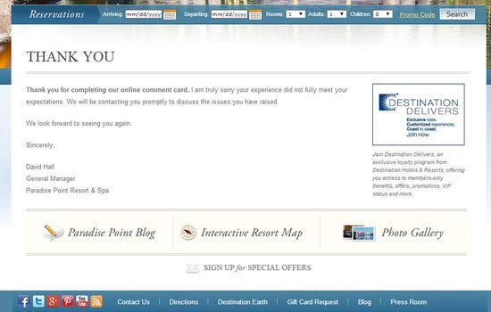 Paradise Point Resort & Spa : Guest complaint email promsing follow up and do not
