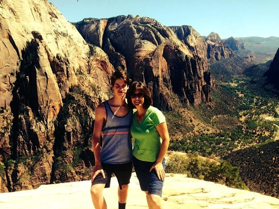 Angel's Landing: On top--mom and son