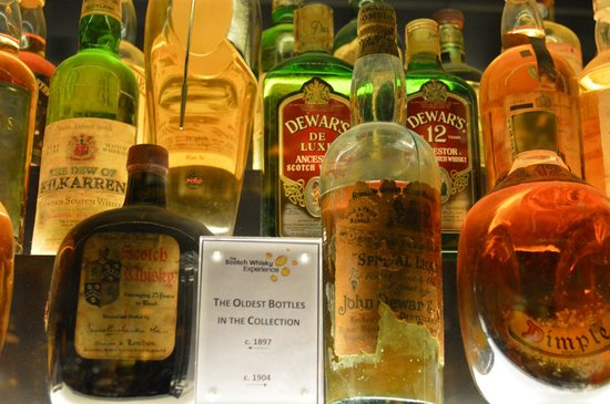 The Scotch Whisky Experience: Some of the rare bottles on display.