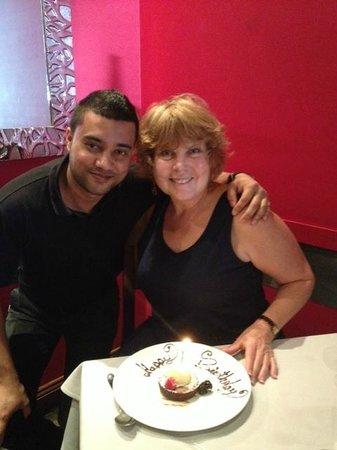 Etcetera Etcetera Restaurant : Our wonderful waiter and birthday dessert!