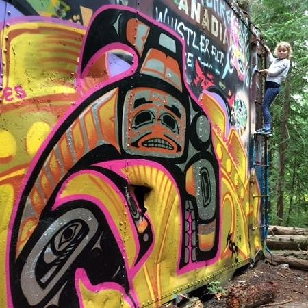 The Whistler Train Wreck Trail: Amazing grafitti on the wrecked cars.