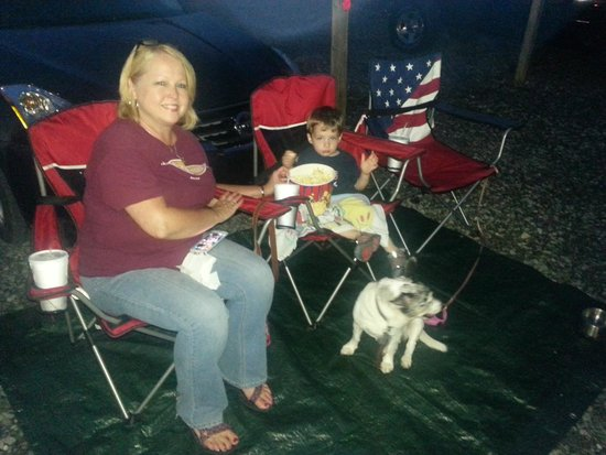 Wilderness Outdoor Movie Theater: With our Grandson and our Dog