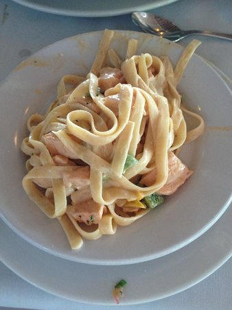 Mocambo's: salmon pasta drizzled with white wine sauce, split portion