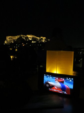 Central Athens Hotel: Rooftop nighttime view (streaming a ballgame on the good wifi)