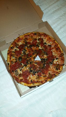 "Ronnie's Pizza: The medium 14"" 2 topping pie"