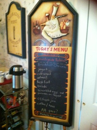 Stone Lake Inn: Breakfast menue