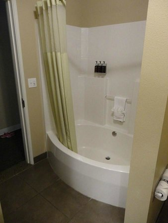 Oxford Suites Silverdale: Shower and tub.