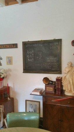 School House Inn Bed & Breakfast: Black board