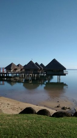 Le Meridien Tahiti: The over water bugalows behind the hotel