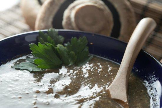 Maya Cafe Mediterranean Lifestyle: Mushroom soup , gluten free , dairy free , pure veggies ! Yum