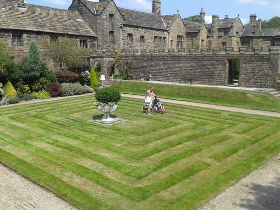 Hoghton Tower: The grass maze. Despite the lack if high walls , my children lived it
