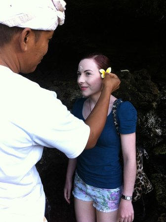 Mind Body Soul Surf Bali Retreat: Receiving a blessing at the temple during our culture afternoon