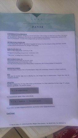 Hotel Riosol: Bus beskrivelse i hotellets egen infomappe