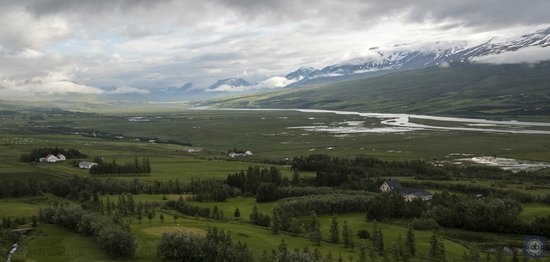 Leifsstadir Guesthouse: View from hotel up the valley (away from Akureyri)