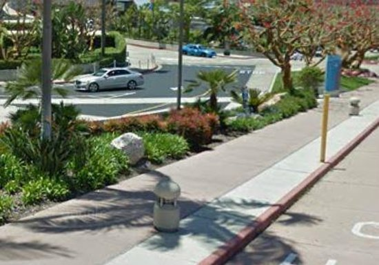 San Diego Convention Center: Concrete lights in middle of sidewalk.