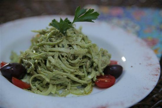 "Maya Cafe Mediterranean Lifestyle: Raw pasta , otherwise called ""zoodles"" with walnut pesto sauce"
