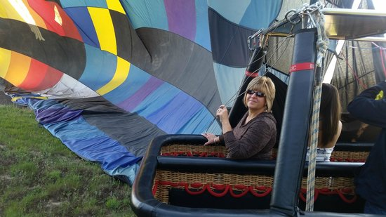 Adventure Balloon Sports : My fiancee' in the basket just after we landed.