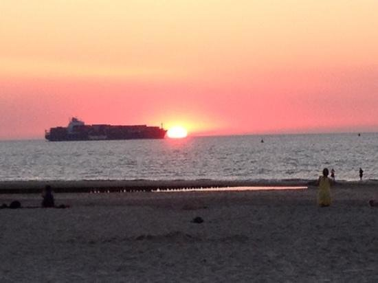 Strandpaviljoen PUUR : zonsondergang bij PUUR