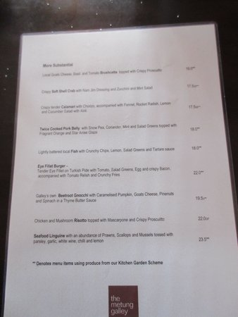 The Metung Galley: Page two of the menu in July