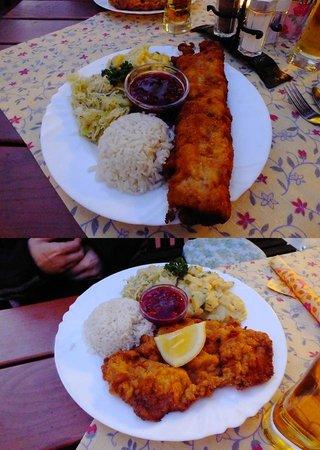 Gasthaus Restaurant Buzihütte: House special stuffed schnitzel, and classic schnitzel