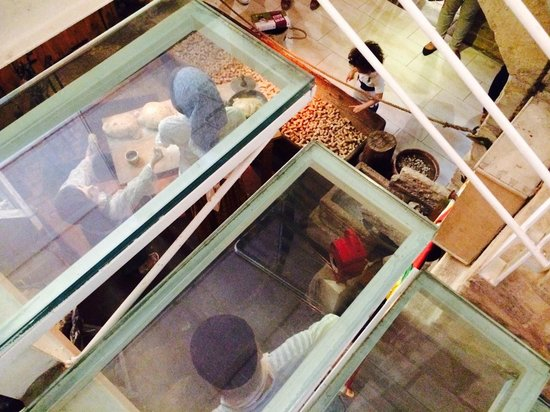 Nenu the Artisan Baker: View through the glass entrance stair.