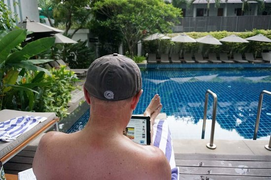 Woodlands Suites Serviced Residences: Me on the veranda (Room 1101 Direct Pool Access)