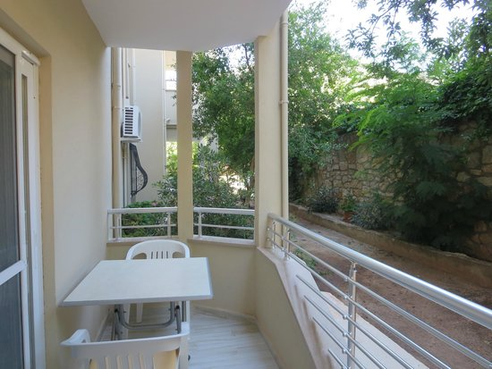 Rose Apartments: Patio with Pomegranate and Plum Trees