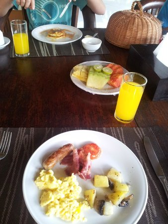 breakfast - bacon,eggs,sausage,potato and mushroom,pancakes,fruit etc :)