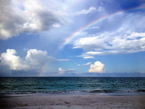 Siesta Beach : Morning rainbow!  Beautiful beach!