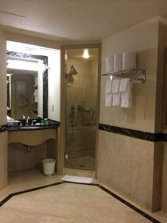 Hilton Times Square: Double sinks & shower