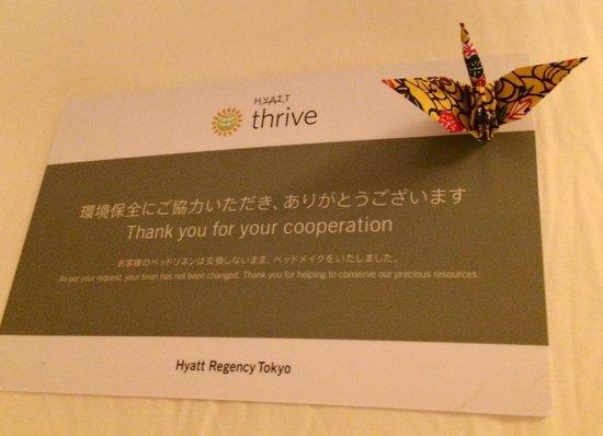 Hyatt Regency Tokyo: A nice surprise from the house keeper :)