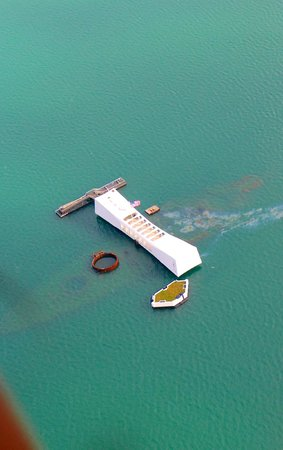USS Arizona Memorial: The memorial from above