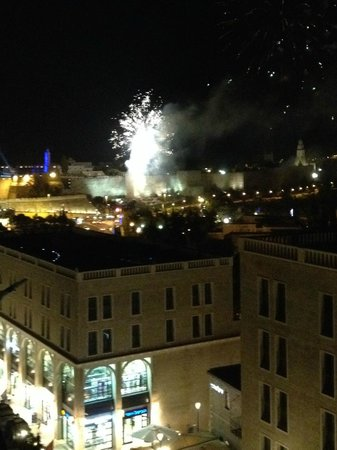 View from our Seats at Rooftop - Fireworks by David's Tower