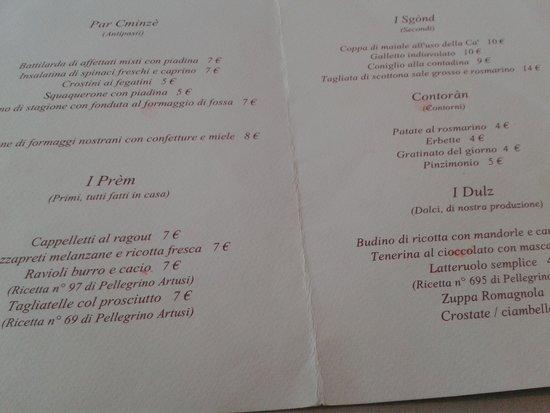 Ca' de Be Osteria Enoteca: il menu