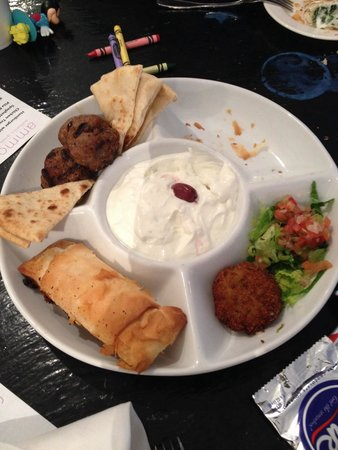 Ammos: The sampler, the spinach wrapped phyllo is missing and two veggie patties are missing.