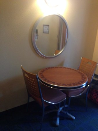 Disney's All-Star Movies Resort: Little table in our preferred room.