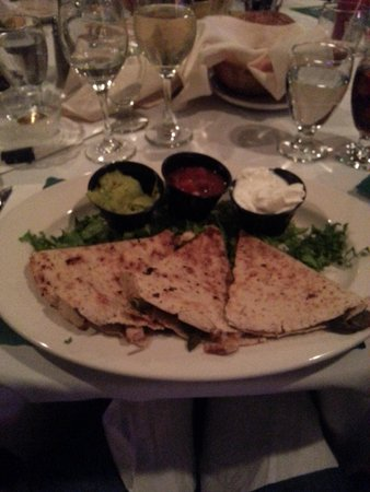 Top of The Green At Apple MTN : quesadillas with three dips- choice of steak, chicken or pork