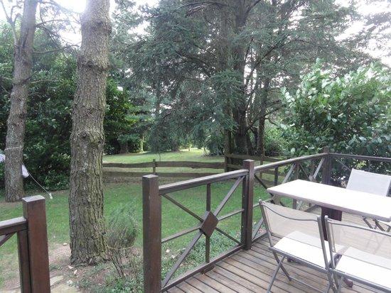 Baudelys : vue de la terrasse du chalet