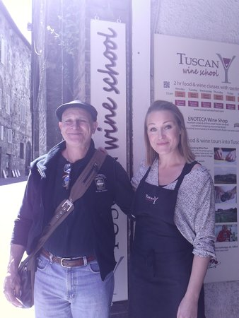 Tuscan Wine School - Siena : tony the winemaker and Sarah the instructor