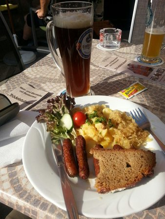 Nurnberger sausages and potato salad..