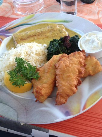 Hotel Restaurant Seehof : Local Fish plate, Two types of local fish with homemade tartar sauce and rice. Worth every cent!