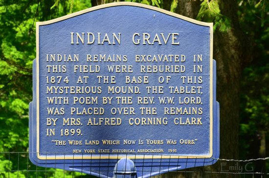 Indian Grave Sign - Picture of Indian Burial Mound