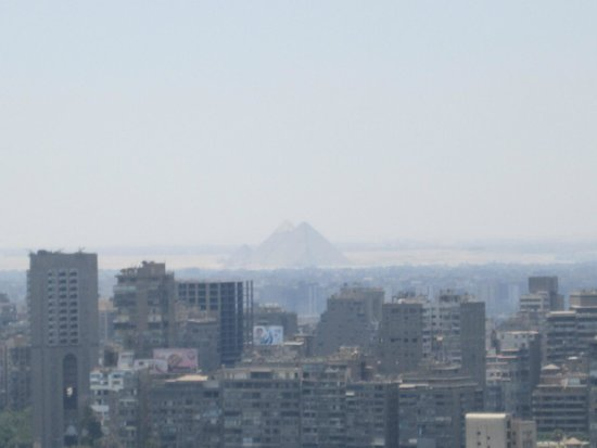 Ramses Hilton: The pyramids in the distance from the 25th floor.