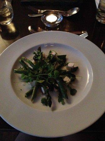 Satis House: asparagus, asparagus soup shot, parmesan polenta, lemon and ginger dressing