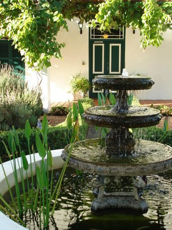 Fairview Historic Homestead : The water feature in the lavender garden.