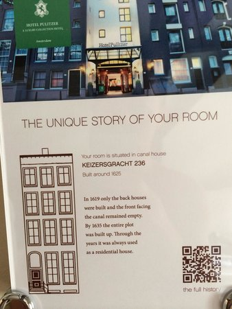 Hotel Pulitzer Amsterdam: Each room has a history