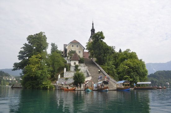 Bled Island from row boat