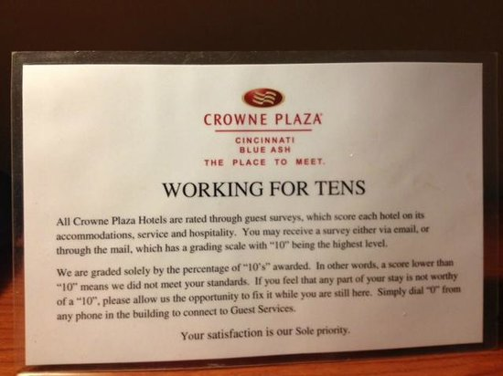 Crowne Plaza Hotel Cincinnati Blue Ash: Working for Tens - table topper in room - Must be a new program?