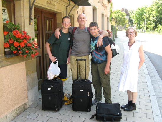 Hotel-Gasthof Klingentor : The owner, it's a husband and wife with the former taking the photo, outside their hotel.